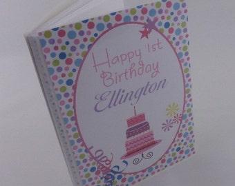 Birthday Photo Album personalized  Birthday Cake 1st Birthday photo album girl birthday party gift photo book 4x6 or 5x7 368