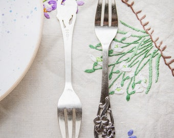 Dessert forks_set of two_silver plated_Art Nouveau_collectible forks_floral pattern_14.6 cm 5.8'' long_Edwardian style_retro vintage kitchen