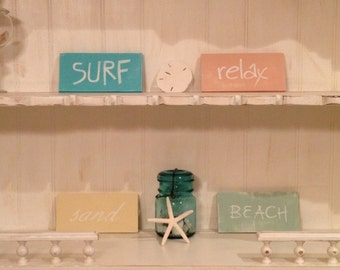 Beach Surf Sand Relax Signs, Beach Signs on pine wood, Distressed Beach Signs,  Set of 4