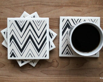 Drink Coasters - Tile Coasters - Ceramic Coasters - Black and White Coasters - Ceramic Tile Coasters - Coaster Set - Table Coasters