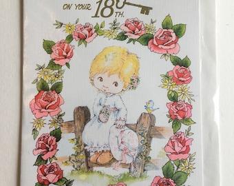 Vintage 18th Birthday Card, Cute Girl and Bluebird, Bird, Roses, Unused