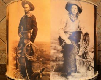 "western cowboy lamp shade,  med. 12"" x 12"""