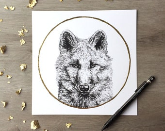 Wolf January wolf moon - Print of an Original Graphite Drawing with Gold Leaf - Animal Portrait Wolf Print