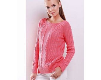 """Coral Thermal Pullover """"15"""" FROM ACRYLIC-WOOLEN Yarn For Women"""
