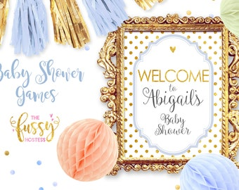 Welcome Baby Shower Sign, DIY Printable Baby Shower, Download, Printable, Baby Shower Printable Download, Wedding, Bridal, Blue and Gold
