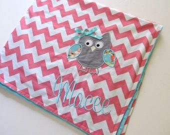 Personalized Baby Blanket- Minky Baby Blanket- Chevron Minky Blanket- Owl Applique Baby Blanket- Custom Blanket-