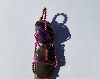 Grey Moonstone with Amethyst Pendant