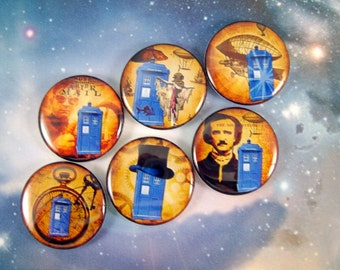 Dr. Who Magnets Pins Fridge Magnets Party Favors Gift Sets Whovian Phone Box