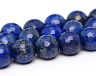 "6MM Faceted Lapis Lazuli Grade A Natural Gemstone Half Strand Round Loose Beads 7.5"" (100898h-341)"