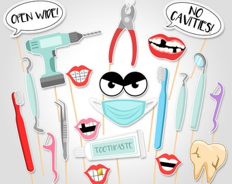 Printable Dentist Photo Booth Props - First Dental Dentist Visit Photobooth Props - First Tooth Party - Fairy Tooth Photo Booth Prop