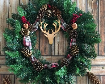 Christmas Wreath with Stags Head