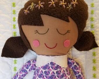 Handmade cloth girl doll girl doll with dark brown hair, ragdoll, soft doll, fabric doll, modern fabric doll, girl room, handmade cloth doll