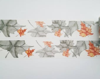 Design Washi tape grey leaves autumn