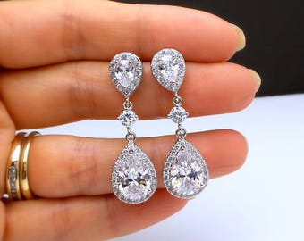 wedding bridal jewelry christmas gift prom party bridesmaid Clear white teardrop cubic zirconia teardrop post circular cz connectors clip on