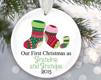 Grandparents Ornament Our first Christmas as Grandma & Grandpa Personalized Christmas Ornament Godparents Ornament Christmas Gift OR243