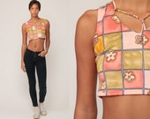 Floral CROP Top 90s Tank Top Cropped Shirt Grunge Bodycon Blouse 1990s Pink Boho Hippie Sleeveless Extra Small xs