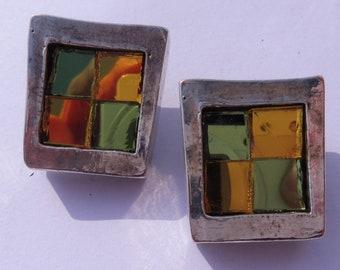 Vintage Estelle B Paris Mirrored Clip On Earrings.
