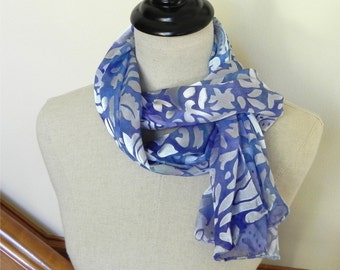 Hand painted silk scarf in Alpine blue and lavender Long Devore satin silk scarf # 490 Ready to Ship Gifts for her
