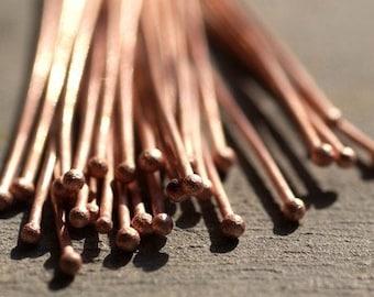 Handmade Copper Ball Headpins 24 gauge - 2 1/4 inch long - 57mm - 25 pieces