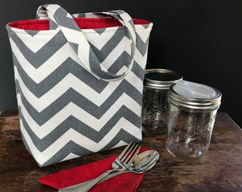 Custom 2 Jar bag, Pint Jars to Go Bag zero waste lunch or shopping tote carrier bag