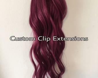 Burgundy  Clip in Hair Extensions, Human Hair Extensions,  BurgundyHair, Clip in Extensions, Hair Extensions, Custom Made