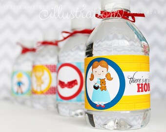 Wizard of Oz Printable Water Bottle Wrappers, Wizard of Oz Party Bottle Labels, Instant Download, Dorothy Party Water Bottle Wrappers
