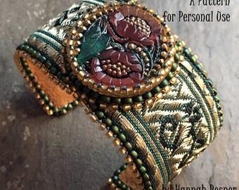 Bead Tutorial Steampunk Brocade Beaded Bracelet pattern instructions by Hannah Rosner