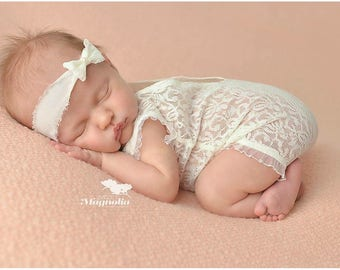 Newborn lace romper with headband, newborn photo outfit, newborn onesie, newborn clothes, baby lace romper, baby clothes, baby headband