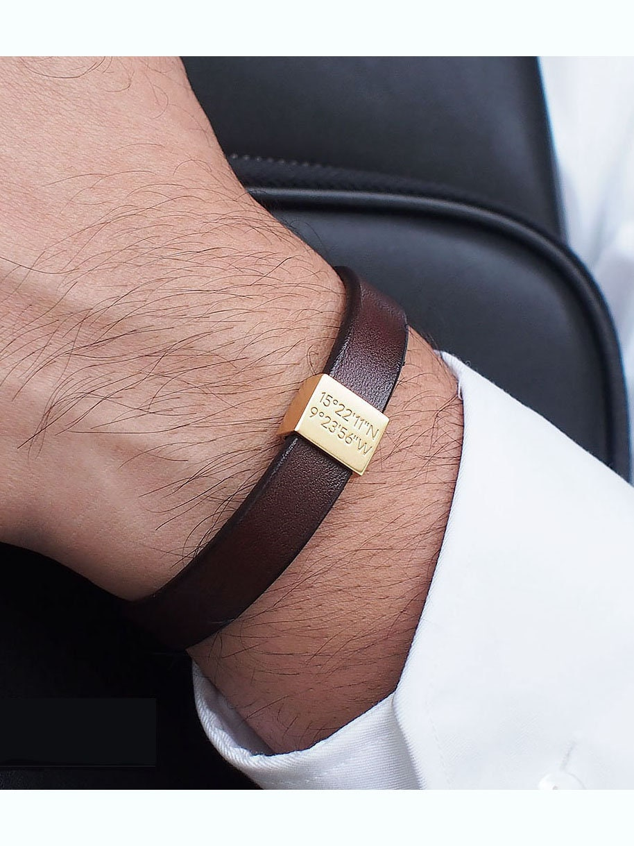 Father's Day Gift / Personalized Leather Bracelet / Coordinates Bracelet / Mens Bracelet / Men's Gift / Groomsman gift - LB01