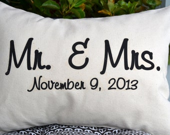 Personalized pillow, Wedding gift, 2nd anniversary, cotton, Mr. and Mrs., Anniversary Pillow, valentine gift idea, Casual cotton anniversary