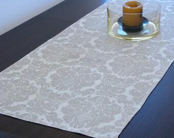 Linen Table Runner / Damask