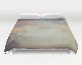 Cloudy Sky Duvet Cover, Cloud Decorative bedding, Sunset Sky, beach, bedroom, dorm, wedding gift, dreamy, whimsical, Orange Light blue