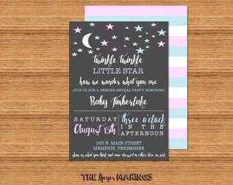 Twinkle Twinkle Little Star Gender Reveal / Baby Shower Invitation / Diaper Raffle Tickets