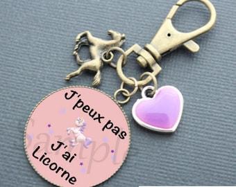 Keychain humorous Unicorn - purple cabochon pink horse