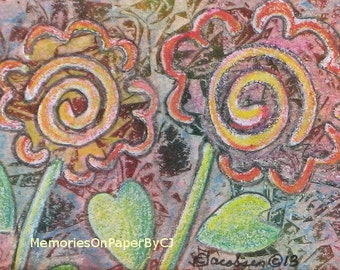 Floral Artwork - Spiral Mixed Media Original Painting - Wall Decoration - Texture Orange Red Green Colors - Great for Easel
