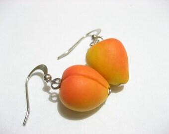 Peaches Earrings, peach earrings, fruit earrings,Food Jewelry, fruit jewelry, food earrings, peach earrings, yellow, orange, dangle earrings