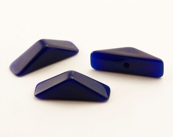 144 Cobalt Blue Triangles 16mm, Vintage Japanese Opaque Blue Dimensional Rooftop, Mosaic Clay Glass, Bulk Mosaic Mixed Media Craft Glass