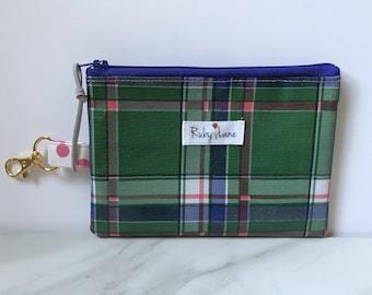 Clip Oilcloth pouch / Zipper pouch / Oilcloth bag / Coin purse / Key chain pouch / Mini pouch / Green plaid