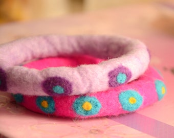 A Set of 2 Felted Bangles