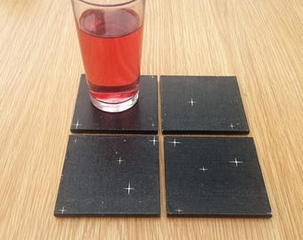 black and white stars coasters - starry night wooden square coasters -  black home decor - best selling items - secret Santa