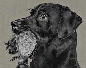 "Original Art Print - ""Good Boy"", Labrador, Hunter, T.A. Schmitt, Artist"