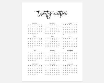 2019 Calendar, Simple Calendar, 2019 Year Calendar, 2019 Calendars, 2019 Year Planner, Wall Calendar, Printable Calendar, 2019 At a Glance