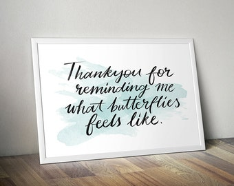 """Digital Print """"Thank You For Butterflies"""" Printable Wall Art Love Typography Hand Lettering PDF Download"""