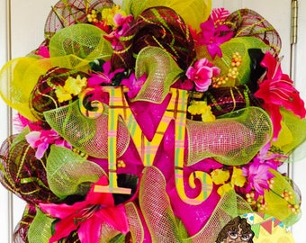 Spring Welcome Wreath Tropical Spring Initial Wreath Summer Welcome Wreath