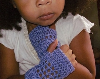 Pattern PDF - A Little Lavender - Shortie Crochet Fingerless Gloves Pattern - Girls Child Size