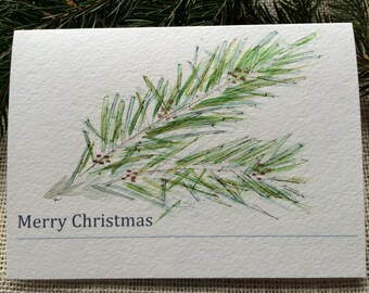 Watercolor Christmas Cards, Holiday Cards, Merry Christmas Cards, Custom Holiday Cards, Original Watercolor, Pine Boughs, Original Christmas