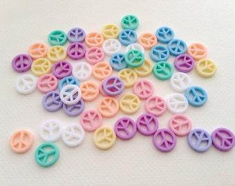 50 pcs Peace plastic pastel beads