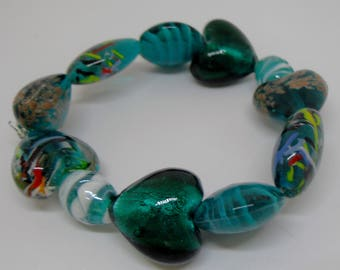 Murano Autumn Teal Blue/Green Foil Glass Beaded Bracelet