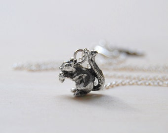 Teeny Tiny Silver Woodland Squirrel Necklace   Cute Woodland Charm Necklace   Forest Animal Necklace