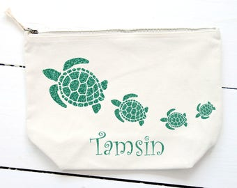 Turtle Make Up Bag,Personalised Gift,Canvas Wash Bag,Large Zipper Pouch,Toiletry Bag,Accessory Bag,Teen Gift,Canvas Cosmetic Bag, Turtles